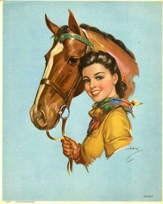 ... and her horse (art by Jules Erbit). #vintage #cowgirls #fashion