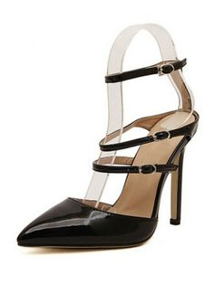 Shop Black Strappy Pointed Heeled Pumps from choies.com .Free shipping Worldwide.$33.99