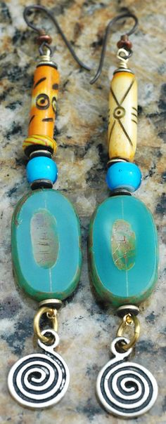 Funky Turquoise Blue Glass and Carved Bone Earrings $65.00