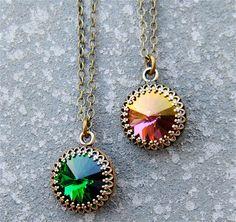 Moss Green Gold Plum Purple Crown Necklace Swarovski Crystal Victorian Necklace Bridesmaid Necklace Mashugana