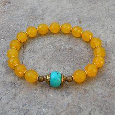 Yellow jade gemstone mala bracelet with Tibetan capped turquoise guru bead by #lovepray #jewelry