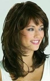 Pictures of shoulder length hair cuts with bangs - Best hair ideas - Langhaarfrisuren Pony - Your HairStyle Short Haircuts With Bangs, Straight Hairstyles, Cool Hairstyles, Feathered Hairstyles, Beautiful Hairstyles, Long Bangs, Medium Layered Hairstyles, Layered Haircuts Shoulder Length, Hairstyle Ideas