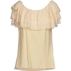 Erika Cavallini Semicouture Top ($41) ❤ liked on Polyvore featuring tops, beige, beige top and short sleeve tops