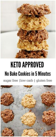 Keto No Bake Cookies in 5 Minutes! 2 Ways & ONLY 2 Carbs Creamy, fudgey and crunchy are just a few words to describe these amazing keto no bake cookies. A perfect way to satisfy your sweet tooth and get in some valuable macronutrients. Keto Desserts, Keto Snacks, Healthy Snacks, Keto Sweet Snacks, Quick Snacks, Keto Foods, 5 2 Snacks, Paleo Diet, Stevia Desserts