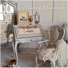French Country Painted furniture, silks &  linens Maritza Moran MaritzaMiniatures.com