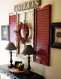 Here's a great idea! Hang old shutters on either side of either a mirror or an old picture window… www.customframedesigns.com #diy by Wendy Davis Custom Framing