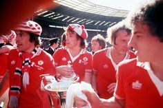 Manchester United's --Stuart Pearson, Sammy McIlroy, Jimmy Greenhoff and Steve Coppell celebrate a 2-1 victory against Liverpool, 1977