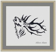 Cross stitch Pattern Silhouette Deer Head monochrome от HallStitch
