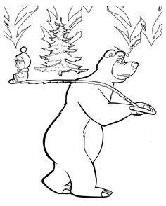Marsha And The Bear Printable. For cartoon lovers, of course familiar with the cartoon Masha and the Bear. Masha and the Bear is a cartoon originating in Russia, created in the late. Kids Printable Coloring Pages, Bear Coloring Pages, Cartoon Coloring Pages, Coloring Pages To Print, Coloring Pages For Kids, Coloring Books, Colouring, Bear Images, Bear Pictures