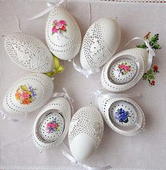 pisanki  gęsie skorupki goose egg shells made by Bogusława Justyna Goleń Ażurowe Pisanki