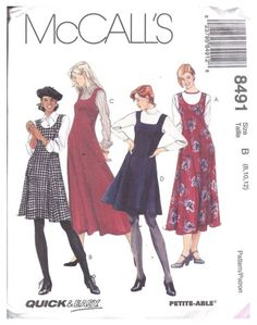8491 UNCUT Vintage McCalls Pattern Misses Jumper Dress Winter SEWING OOP FF NEW #jumper #dress #winter #jumperdresswinter Vintage Outfits, Vintage Dresses, Vintage Fashion, Mccalls Sewing Patterns, Vintage Sewing Patterns, Kinds Of Clothes, Diy Clothes, Winter Dresses, Dress Winter