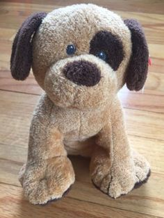 $25 NEW-TY-Pluffies-Barkers-Dog-2008-Tan-Brown-Plush-Beanie-Stuffed-Animal-Baby-Toy