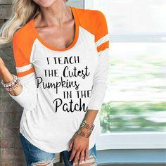 dcda441f4d209 Halloween I Teach The Cutest Pumpking Baseball T-Shirt • kun's shop •  Tictail