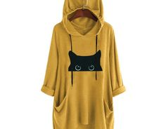 Best Hoodies For You Long Sleeve Cats Printed Cute Hoodie, Long Hoodie, Stylish Hoodies, Plain Hoodies, Casual Tops For Women, Casual Fall, Long Sleeve Shirts, Victoria, Clothes For Women
