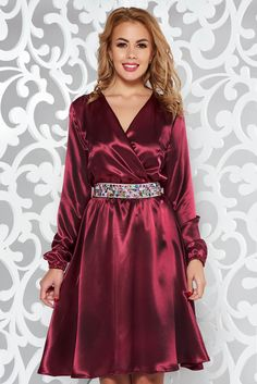 StarShinerS burgundy occasional dress from satin fabric texture accessorized with tied waistband with embellished accessories with elastic waist Satin Dresses, Gowns, Silk Satin, Satin Fabric, Burgundy Dress, Fashion Dresses, Women's Fashion, Occasion Dresses, Formal Wear