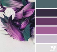 { flora hues } color inspiration from design-seeds Design Seeds, Colour Pallette, Colour Schemes, Color Combos, Silver Color Palette, Purple Color Palettes, Purple Palette, Purple Bedrooms, Bedroom Colors