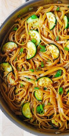 Spicy Thai Zucchini Noodles with toasted sesame seeds - lots of flavor! Meatless, vegetarian pasta recipe.