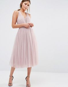 ASOS embellished midi dress with tulle skirt