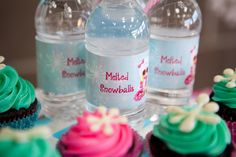 Melted Snowballs label for water bottles - #partyfood