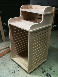 CNC cut to shape on 3/4″ oak, sanded and assembled. No hardware required.