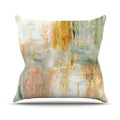 KESS InHouse CT3035AOP03 18 x 18-Inch 'CarolLynn Tice Coffee Brown Paint' Outdoor Throw Cushion - Multi-Colour