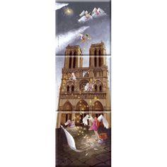 """Marie-Anne Foucart magnet """"Notre-Dame de Paris"""" (Triptyque complet 80x240mm)"""