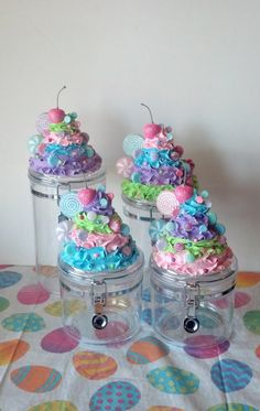 Fake Frosting Set of Acrylic Canisters by FakeCupcakeCreations