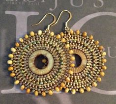 Beadwork Blonde Mother of Pearl Earrings  Big Bold by WorkofHeart