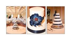 Navy blue and white wedding cake. Simple yet sophisticated with a modern sugar flower.    Perfect cake from Brookfield Cakes, Brookfield, WI.