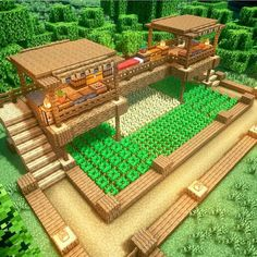 Huerta #minecraft Minecraft Cottage, Cute Minecraft Houses, Minecraft Farm, Minecraft House Tutorials, Minecraft Houses Survival, Minecraft Plans, Minecraft Houses Blueprints, Amazing Minecraft, Minecraft House Designs