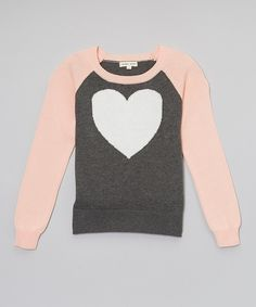 This Pink & Gray Heart Sweater - Toddler & Girls by Yoon is perfect! #zulilyfinds