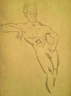 "Franzen, M. ""Sketch of man leaning"". 2003. Pencil on paper."
