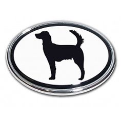Setter Dog Emblem Sportsman Wildlife Game dog oval Real metal Chrome auto decal
