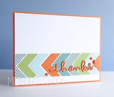 "handmde thank you card from the The Card Grotto ...lightcolored die cut chevrons form a band ... coral, blue & green ... die cut script ""thanks and a trio of enamel dots in coral ... like it!!"