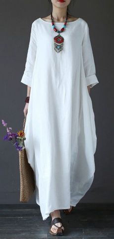 Solid Color Loose Casual Round Neck Maxi Dress – Plus Size Women's Clothing Boho Fashion, Fashion Dresses, Womens Fashion, Curvy Fashion, Fashion Rings, Vetement Hippie Chic, Dress Plus Size, Boho Plus Size, Vestido Casual