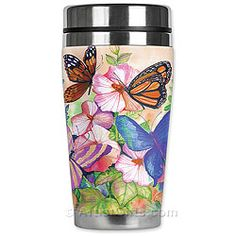 Neoprene and Stainless Steel Insulated Butterfly Tumbler, Made in USA. Free U. Butterfly Project, Butterfly Gifts, Butterfly Design, Monarch Butterfly, Aster Flower, Insulated Travel Mugs, Butterfly Watercolor, Coffee Gifts, Coffee Art