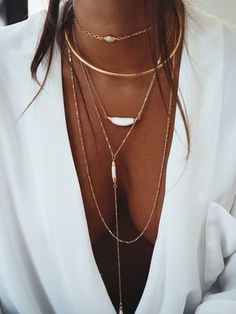 Deep V neck and simple Jewelry