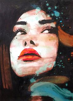 Buy sensual, a Acrylic on Canvas by Joel Imen from . It portrays: Portrait, relevant to: beauty, red, black, Lipps, face, fashion, nice, nude Acrylic, Spray Paint, Digital, Watercolor on Canvas. size; 70x50cm unstretched 76x56cm