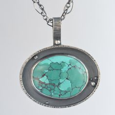 turquoise sterling silver pendant necklace by laurenmeredith