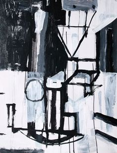 Original abstract painting black and white geometric by Brian Elston