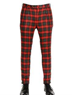 Pt01 17cm 'elliot' Linen Tartan Trousers on shopstyle.com Doc Martens, Casual Pants, Tartan, Trousers, Pajama Pants, Slim, Fitness, Men, Shopping