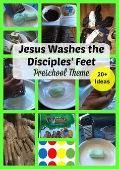 Jesus Washes Feet of the Disciples Preschool Theme is based on John 13:1-17.    Jesus is the model servant in this passage.    He wrapped a towel around his waist, as the household servant would have done in his time, and did the job that a servant would do.  For 20 plus preschool activities, check out this page!
