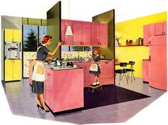 pink and yellow jones & laughlin steel kitchen.