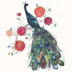 """Painted Peacock"" Wall Art for the Home by Kim Anderson for GreenBox Art + Culture size 18x18"
