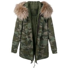 Green army coat with pink silk interior and pink fur hood ...