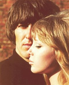 """George & wife Patty Boyd -- She inspired """"SOMETHING"""" / she then married Clapton... and inspired """"Layla"""" the song that wouldn't go away."""
