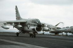 LTV Corsair IIRight front view of an Corsair II aircraft coming to a stop after making an arrested landing aboard the aircraft carrier USS MIDWAY (CV Fighter Aircraft, Fighter Jets, Military Aircraft, Navy Aircraft, Fixed Wing Aircraft, Uss Nimitz, Capital Ship, American Fighter, Flight Deck