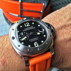 Custom Orange Rubber Strap for the Panerai PAM510. Available in 7 different colors!