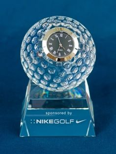 Tee Time - Sports Crystal Awards by Eclipse Awards.  Personalize the Tee Time award and timepiece with your logo to create a personalized gift great for Golfers and golf fans.   Great Golf Gift Ideas by Eclipse Awards.