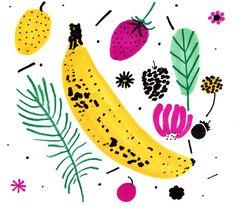 Jordan Sondler - Fruit Fruit Illustration, Floral Illustrations, Graphic Illustration, Banana Art, Fruit Painting, Fruit Print, Food Drawing, Sketchbook Inspiration, Kids Prints